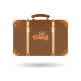 Туристский коричневый чемодан с ремнями Элемент для вашего дизайна перемещения также вектор иллюстрации притяжки corel Стоковая Фотография RF