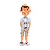 Туристский фотограф стоя в ботинках и одеждах спортзала Стоковые Изображения