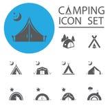 Туристский шатер Комплект значка также вектор иллюстрации притяжки corel иллюстрация вектора