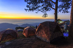 Туристский шатер на ландшафте Стоковая Фотография