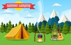 Туристский шатер под луной и звездами бесплатная иллюстрация