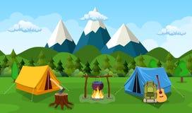 Туристский шатер под луной и звездами иллюстрация вектора