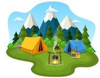 Туристский шатер под луной и звездами иллюстрация штока