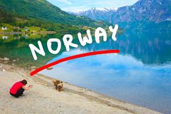 Туристское принимая фото на норвежском фьорде Стоковое Изображение RF