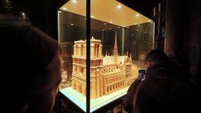 Туристы восхищая деревянную масштабную модель Нотр-Дам de Парижа акции видеоматериалы