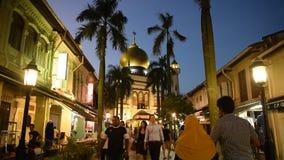 Туристы вдоль исторической улицы сток-видео