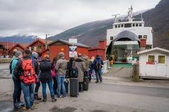 Туристы ждать круиз fiord Стоковая Фотография RF