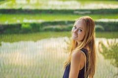 Туристы женщин наслаждаются панорамным видом красивого азиатского пейзажа полей риса стоковое фото rf