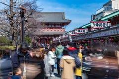 Туристы и местный японский висок Asakusa famose посещения в Asakusa, Японии стоковые фото