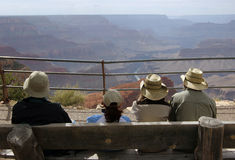 туристы каньона грандиозные смотря Стоковые Фотографии RF