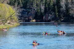 Туристы наслаждаясь водными видами спорта, сплавляться Стоковое Изображение RF