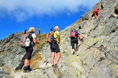 Туристы на горной тропе Стоковое Изображение RF
