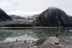 Туристы на леднике Pia стоковое изображение