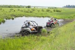 Туристы на Мотовездеходах На ATV Стоковые Фото