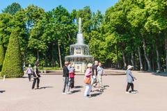 Туристы на фонтанах Rimsky ('римский') в Peterhof Стоковые Изображения RF