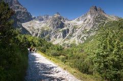 Туристы на шале на pleso Zelen�, высоком Tatras, Словакии Стоковые Фотографии RF