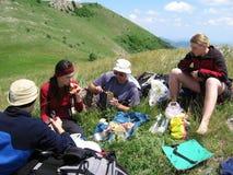 туристы обеда Стоковые Фото
