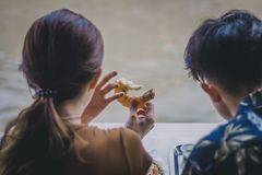 Туристы пар едят креветку на Amphawa, Samut Songkhra стоковые фото