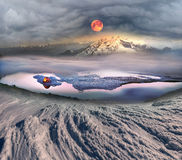Туристы проводят ноча на льде Стоковые Фотографии RF