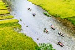 Туристы путешествуя на потоке с зреют прокладки риса с обеих сторон внутренностей потока Стоковые Изображения