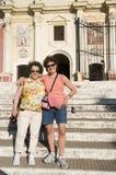 туристы el leon Никарагуаа церков calvario стоковые изображения
