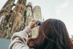 Турист Барселона Испания Sagrada Familia перемещения Стоковая Фотография RF