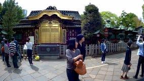 Турист входит в святыню Toshogu в парк Ueno видеоматериал
