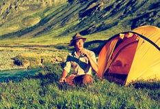 Турист в лагере Стоковая Фотография RF