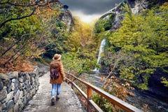 Турист в ботаническом саде в Тбилиси стоковые фотографии rf