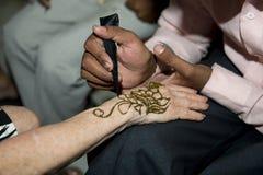Турист в Индии получает татуировку хны Стоковые Фотографии RF