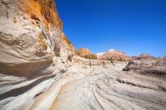 Турист в каньоне пустыни стоковые изображения