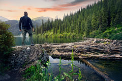 Турист в озере горы стоковые фото