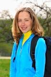 турист девушки backpack ся Стоковое Изображение