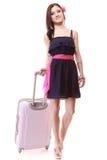 Турист девушки с чемоданом. Перемещение и туризм Стоковое Фото