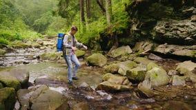 Турист детенышей мужской пересекает реку горы в лесе видеоматериал