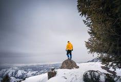 Турист на верхней части горы снега стоковые изображения