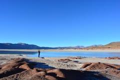 Турист на горной породе Piedras Rojas пустыни Atacama, в Чили Стоковое Фото