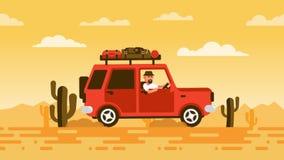 Турист на ездах SUV через пустыню иллюстрация вектора