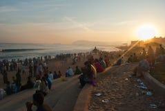 Турист на пляже стоковые фотографии rf