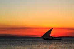 Турист на традиционной шлюпке fishermans наблюдая заход солнца Стоковая Фотография