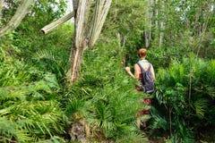 Турист на trekking в джунглях на Доминиканской Республике стоковое изображение rf