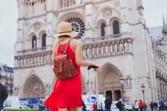 Турист смотря собор Нотр-Дам в Париже, Франции стоковая фотография rf
