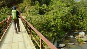 Турист с рюкзаком стоит на деревянном мосте видеоматериал