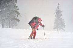 Турист через жестокий шторм Стоковое фото RF