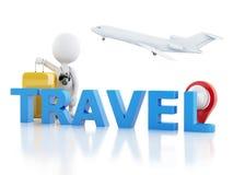 турист человека 3d с чемоданами и камерой перемещения Стоковые Фотографии RF