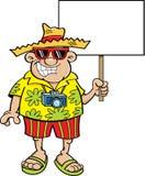 Турист шаржа держа знак Стоковые Изображения RF