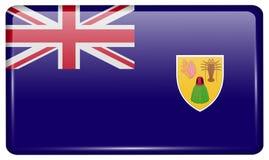 Турки флагов и Caicos в форме магнита на холодильнике с отражениями освещают Стоковое Изображение RF