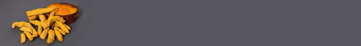 Турмерин порошка ширины знамени и весь сухой корень на сером цвете текст космоса ваш стоковое изображение rf