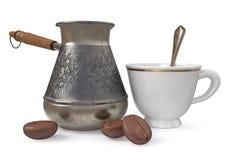 турок металла иллюстрации 3d и кофейные зерна Стоковое Изображение