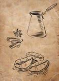 Турок для кофе, кофейных зерен и ванили Стоковая Фотография